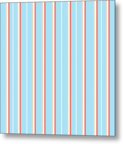 Blue Stripe Pattern Metal Print