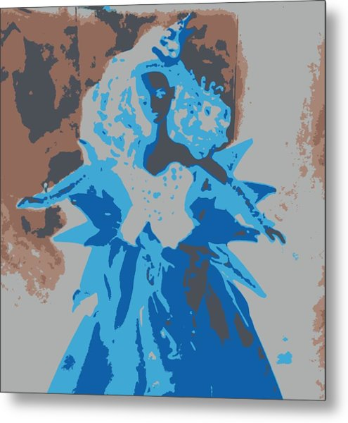 Blue Sunflower Barbie Metal Print