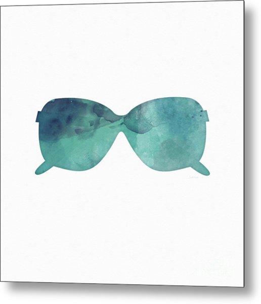Blue Sunglasses 1- Art By Linda Woods Metal Print