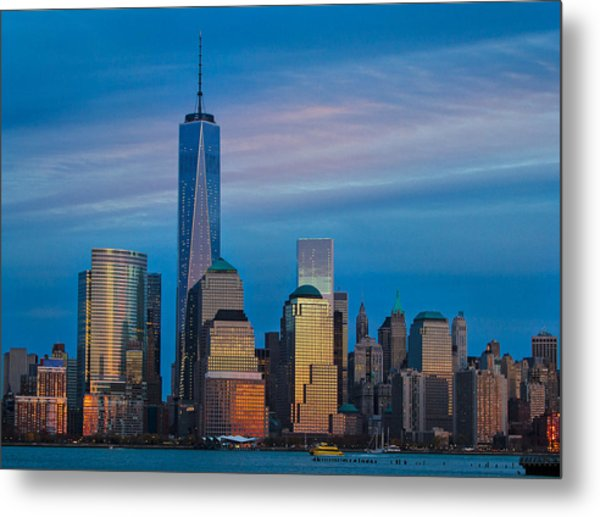 Blue Sunset At The World Trade Center Metal Print