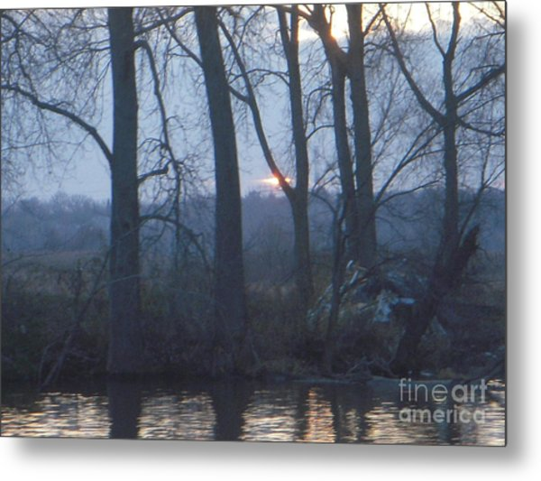 Blue Sunset On Fox River Metal Print by Deborah Finley