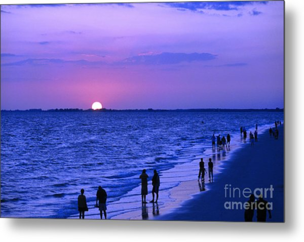 Blue Sunset On The Gulf Of Mexico At Fort Myers Beach In Florida Metal Print