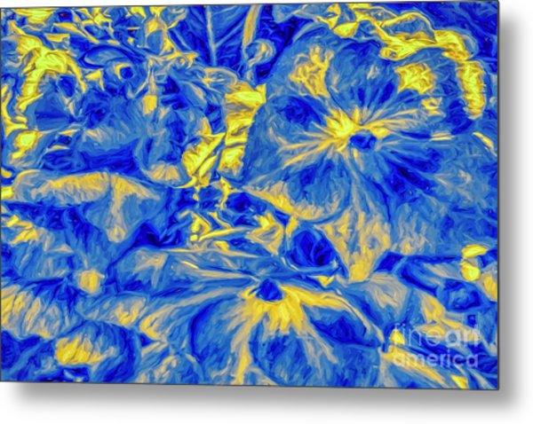 Blue Tango Floral Metal Print