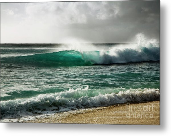 Blue Translucent Wave Metal Print