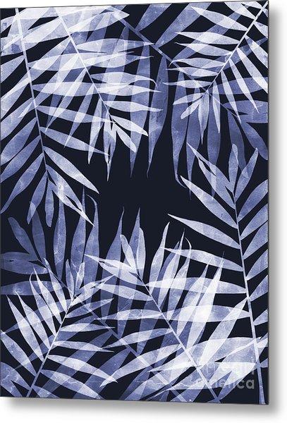 Blue Tropical Leaves Metal Print