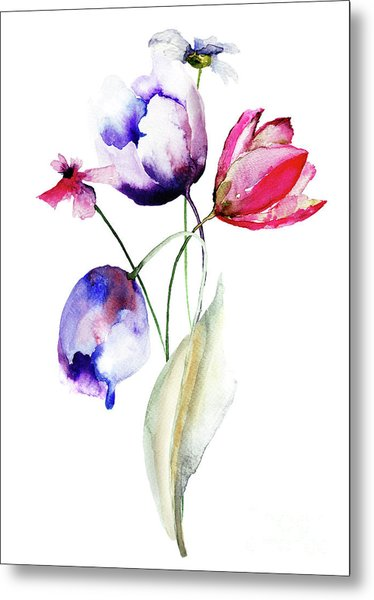 Blue Tulips Flowers With Wild Flowers Metal Print