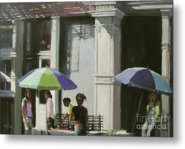 Blue Umbrellas Metal Print by Patti Mollica