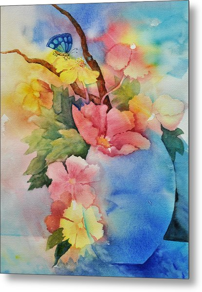 Blue Vase Bouquet Metal Print