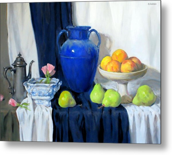 Blue Vase, Peaches, Pears, Lisianthus, Silver Coffeepot Metal Print