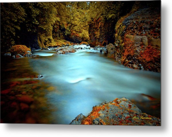 Blue Water And Rusty Rocks Signed Metal Print