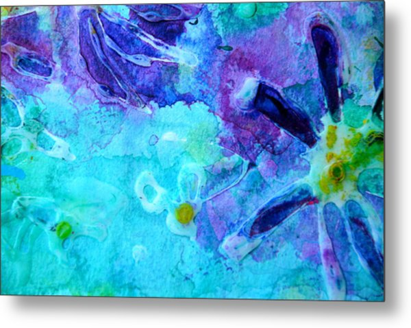 Blue Water Flower Metal Print