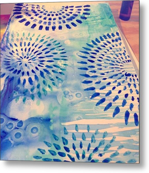 #blue Watercolor And #alcoholdrops Give Metal Print