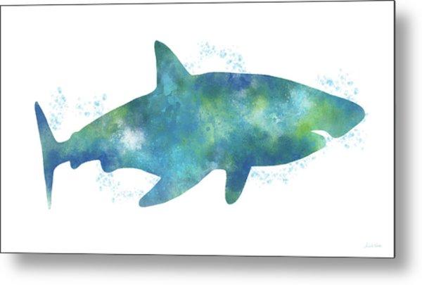 Blue Watercolor Shark- Art By Linda Woods Metal Print