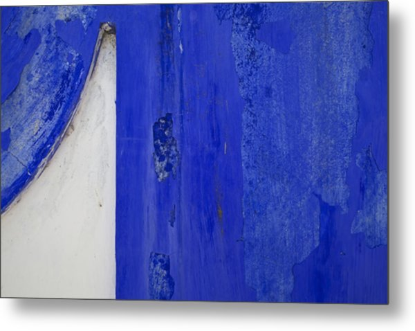 Blue Weathered Wall Of Old World Europe Metal Print
