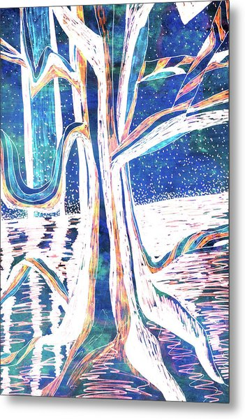 Blue-white Full Moon River Tree Metal Print