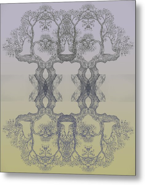 Blue Yellow Tree 14 Hybrid 4 Metal Print