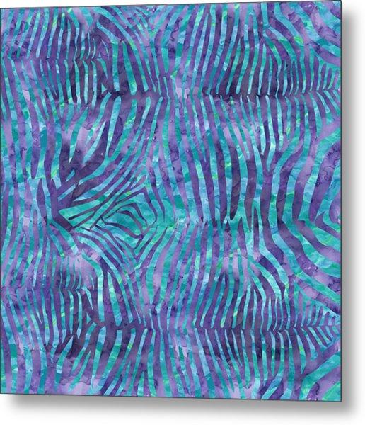 Blue Zebra Print Metal Print