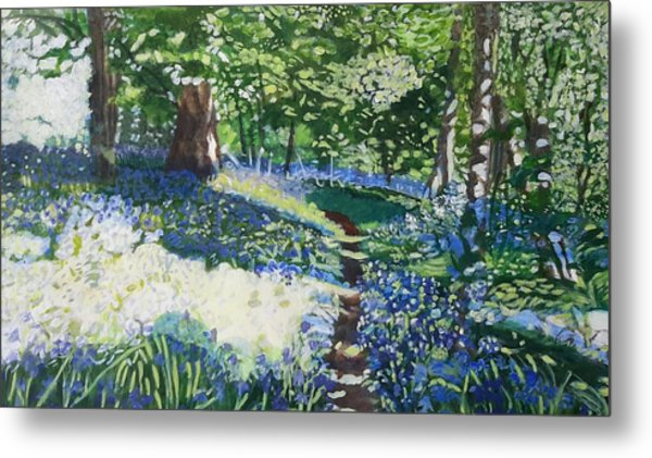 Bluebell Forest Metal Print