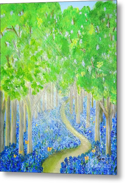 Bluebell Wood With Butterflies Metal Print