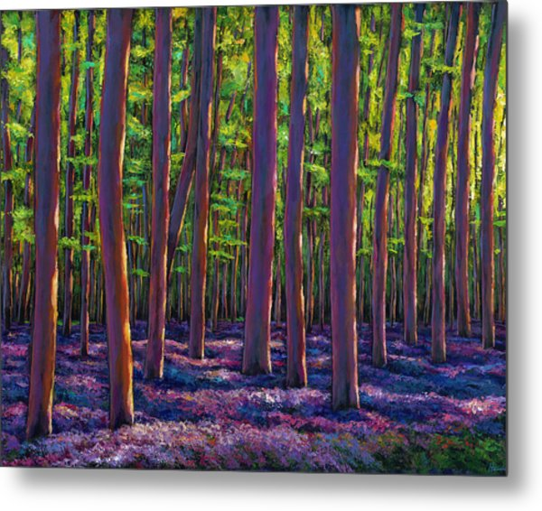 Bluebells And Forest Metal Print