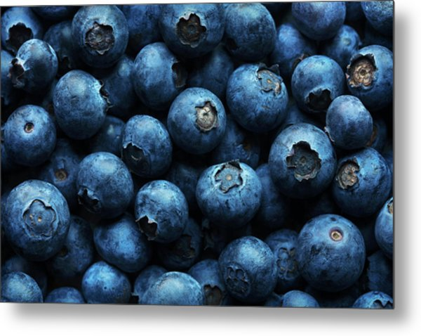 Blueberries Background Close-up Metal Print