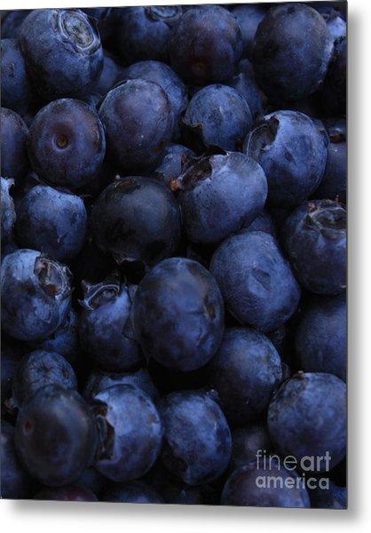 Blueberries Close-up - Vertical Metal Print
