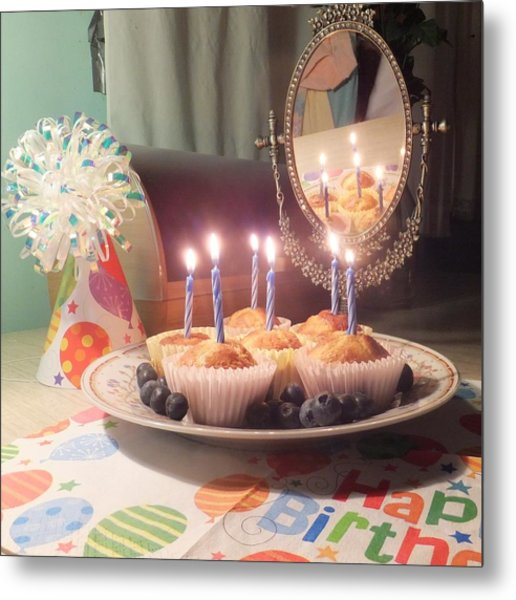 Blueberry Muffin Birthday Metal Print