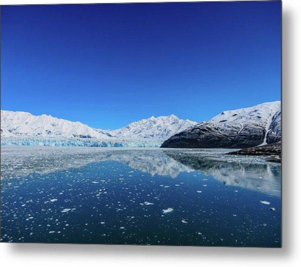 Bluebird Day At Hubbard Glacier Metal Print