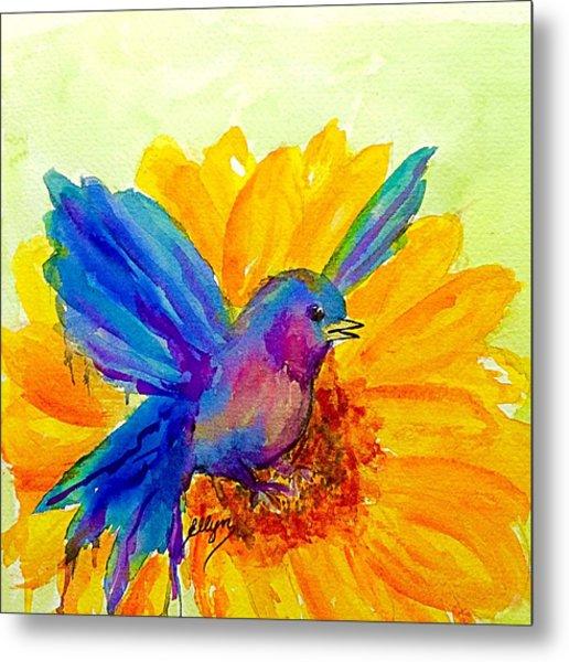 Bluebird On Sunflower  Metal Print