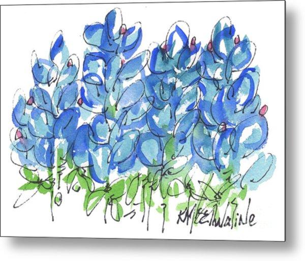 Bluebonnet Dance Watercolor By Kmcelwaine Metal Print