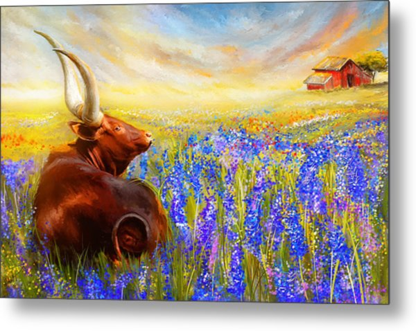 Bluebonnet Dream - Bluebonnet Paintings Metal Print