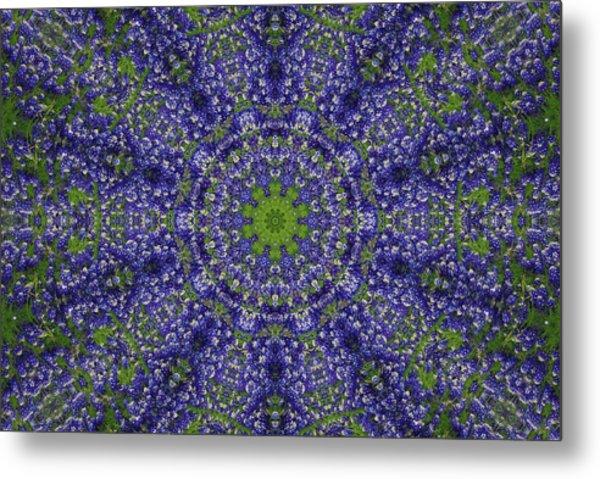 Bluebonnet Lace Kaleidoscope Metal Print