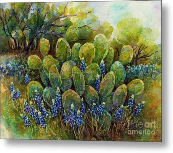 Bluebonnets And Cactus 2 Metal Print