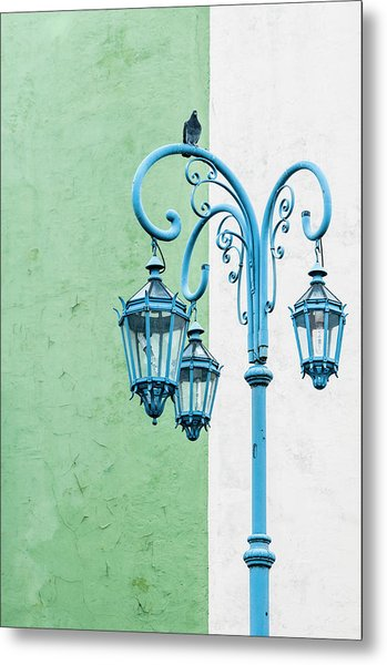 Blue,green And White Metal Print