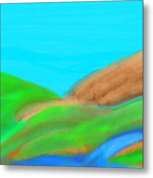 Blues And Browns On Greens Metal Print
