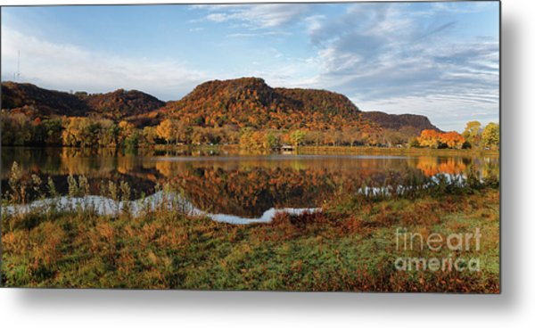 Metal Print featuring the photograph Bluff Reflection And Shoreline Agree In Winona Minnesota by Kari Yearous