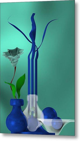 Metal Print featuring the digital art Bluish Still Life Growing by Alberto RuiZ