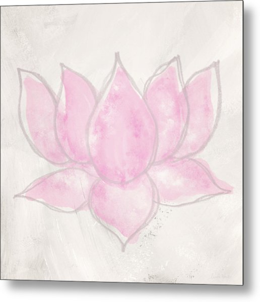 Blush Lotus- Art By Linda Woods Metal Print