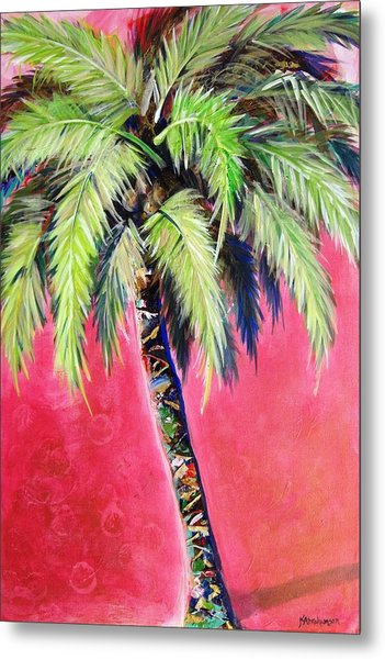 Blushing Pink Palm Metal Print