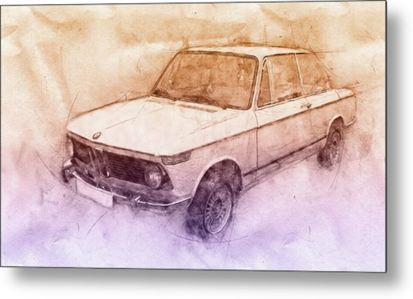 Bmw 02 Series 2 - Ececutive Car - 1966 - Automotive Art - Car Posters Metal Print
