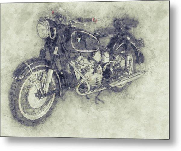 Bmw R60/2 - 1956 - Bmw Motorcycles 1 - Vintage Motorcycle Poster - Automotive Art Metal Print