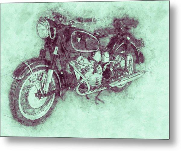 Bmw R60/2 - 1956 - Bmw Motorcycles 3 - Vintage Motorcycle Poster - Automotive Art Metal Print