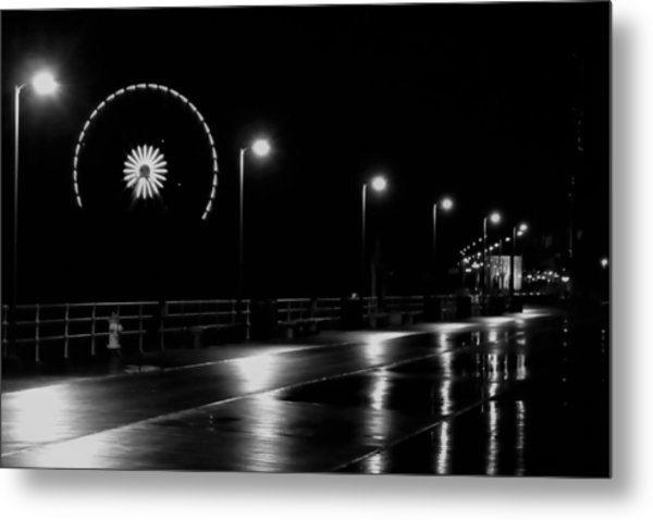 Boardwalk Amusement At Night Metal Print