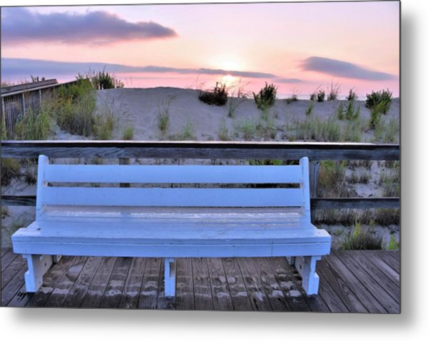 A Welcome Invitation -  The Boardwalk Bench Metal Print