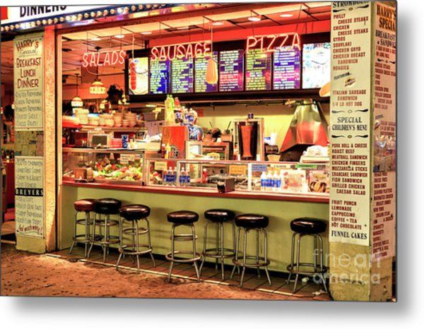 Boardwalk Dining Colors At Wildwood Metal Print by John Rizzuto