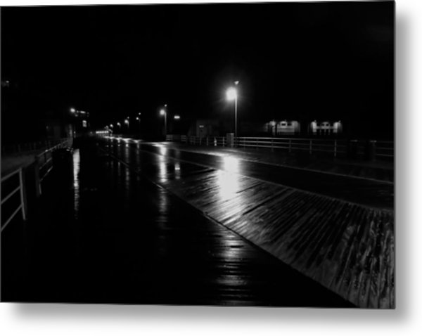 Boardwalk In The Still Of The Night Metal Print