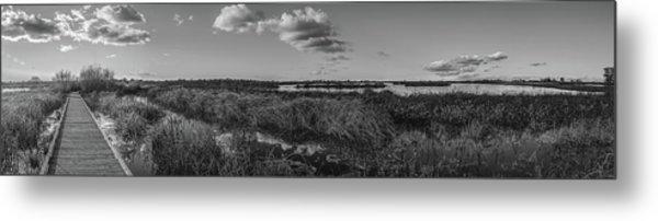 Boardwalk Panorama Monochrome Metal Print
