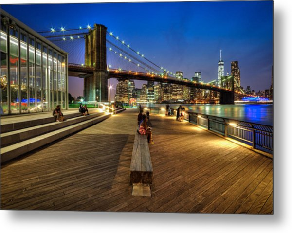 Boardwalk View At Brooklyn Bridge Park Metal Print by Daniel Portalatin