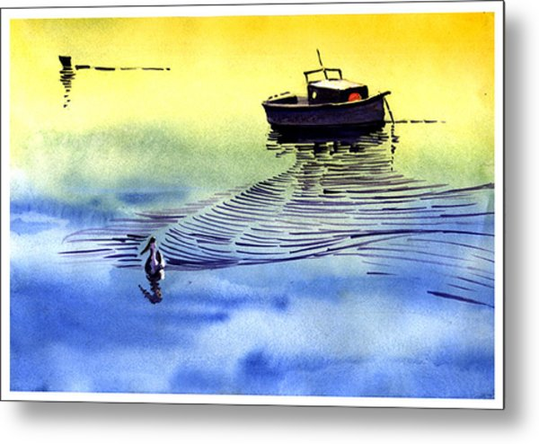Boat And The Seagull Metal Print