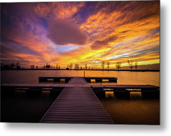 Boat Dock Sunset Metal Print
